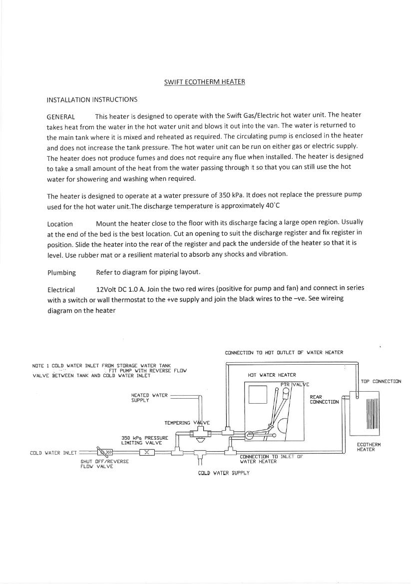 Swift Heater Installation Guide Jenka Group Caravan Water Pump Wiring Diagram